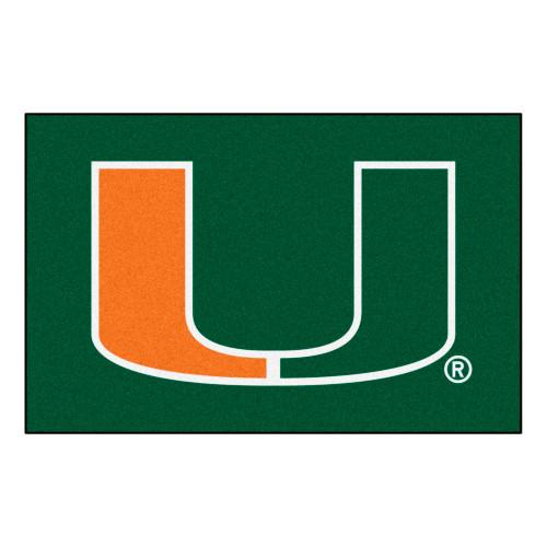 "19"" x 30"" Green and White NCAA University of Miami Hurricanes Starter Rectangular Mat - IMAGE 1"