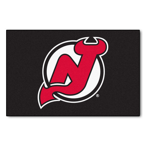 "19"" x 30"" Red and Black NHL New Jersey Devils Starter Mat Rectangular Area Rug - IMAGE 1"