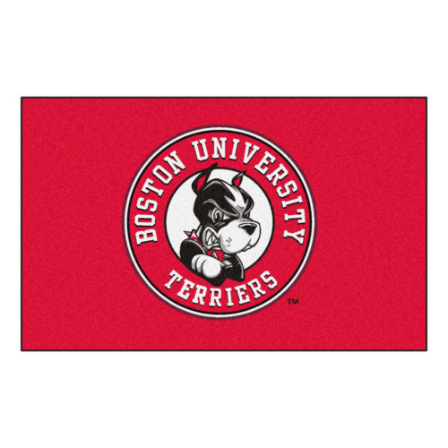 """59.5"""" x 94.5"""" Red and White NCAA Boston University Terriers Ulti-Mat Rectangular Area Rug - IMAGE 1"""