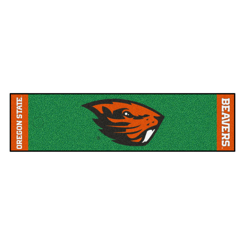 """18"""" x 72"""" Green and Red NCAA Oregon State University Beavers Putting Welcome Door Mat - IMAGE 1"""