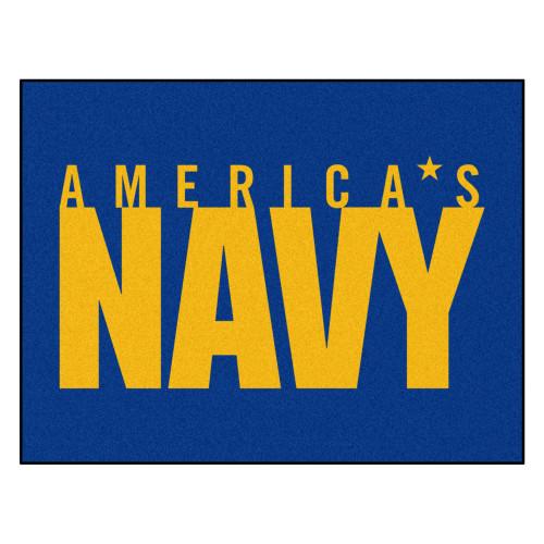 "33.75"" x 42.5"" Blue and Yellow Contemporary U.S. Navy Rectangular Mat - IMAGE 1"