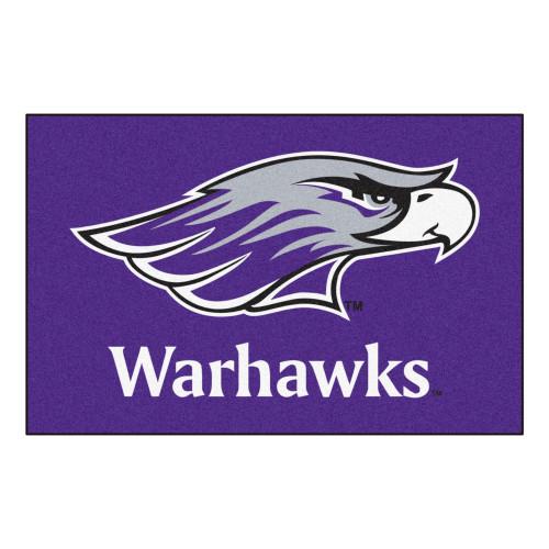 """19"""" x 30"""" Purple and White NCAA University of Wisconsin-Whitewater Warhawks Rectangular Starter Mat - IMAGE 1"""