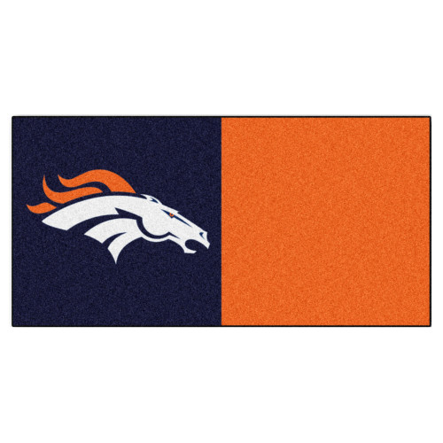 "20pc Navy Blue and Orange NFL Denver Broncos Team Carpet Tile Set 18"" x 18"" - IMAGE 1"