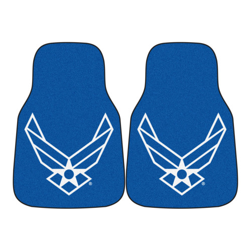 """Set of 2 Blue and White US Air Force Front Carpet Car Mats 17"""" x 27"""" - IMAGE 1"""