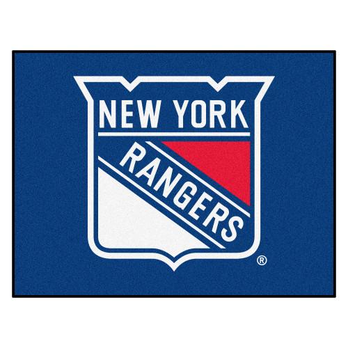 "33.75"" x 42.5"" Blue NHL New York Rangers All Star Non-Skid Mat Rectangular Area Rug - IMAGE 1"