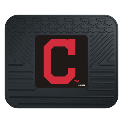 """14"""" x 17"""" Black and Red MLB Cleveland Indians Heavy Duty Rear Car Seat Utility Mat - IMAGE 1"""
