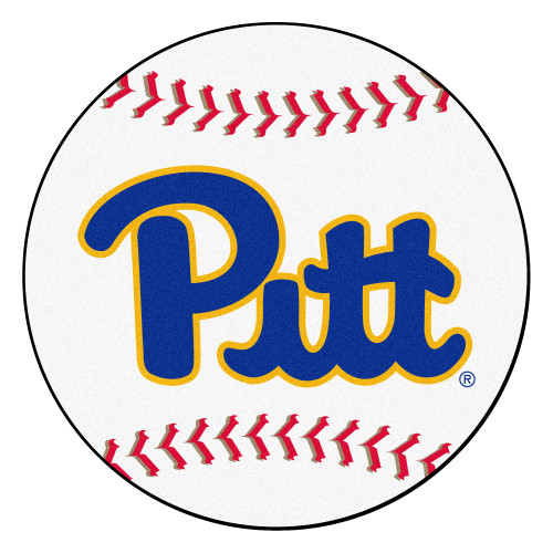 """27"""" White and Blue NCAA University of Pittsburgh Panthers Baseball Door Mat - IMAGE 1"""