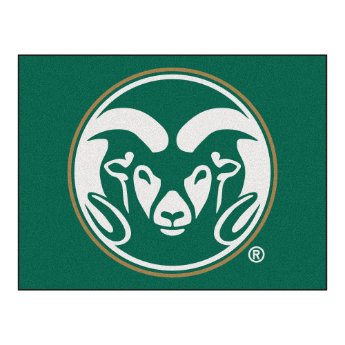 """33.75"""" x 42.5"""" Green and White NCAA Rams All Star Non-Skid Mat Rectangular Outdoor Area Rug - IMAGE 1"""