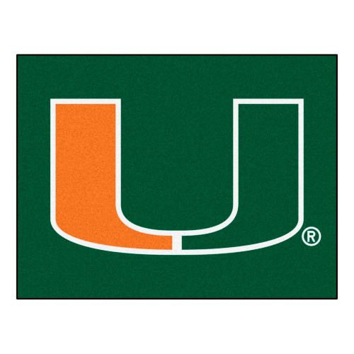 "33.75"" x 42.5"" Green and Orange NCAA University of Miami Hurricanes All-Star Rectangular Mat - IMAGE 1"