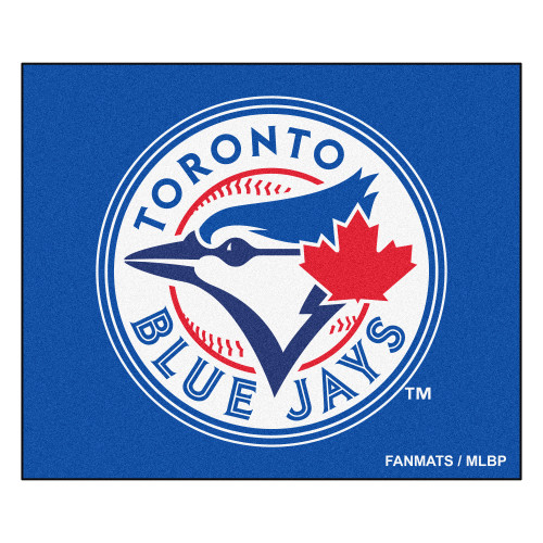 """59.5"""" x 71"""" White and Blue MLB Toronto Blue Jays Tailgater Mat Outdoor Area Rug - IMAGE 1"""