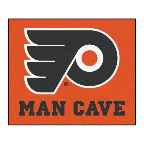 "59.5"" x 71"" Orange and White NHL Philadelphia Flyers Tailgater Rectangular Outdoor Mat Area Rug - IMAGE 1"