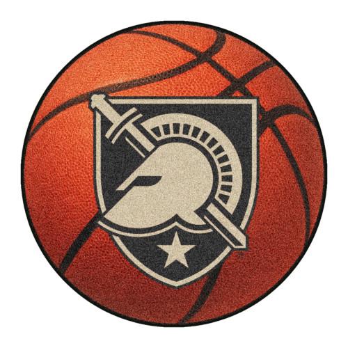"27"" Orange and Beige Contemporary U.S. Military Academy Basketball Round Mat - IMAGE 1"