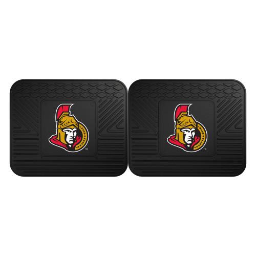 "Set of 2 Black NHL Ottawa Senators Heavy Duty Rear Car Floor Mats 14"" x 17"" - IMAGE 1"