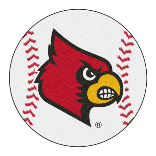 """27"""" White and Red NCAA University of Louisville Cardinals Baseball Mat Area Rug - IMAGE 1"""