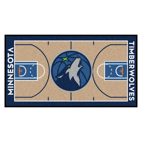 "29.5"" x 54"" Brown and Blue NBA Minnesota Timberwolves Court Large Mat Area Rug Runner - IMAGE 1"