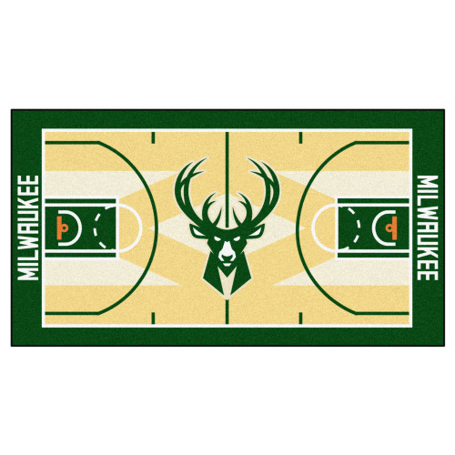 "24"" x 44"" Beige and Green NBA Milwaukee Bucks Court Rug Runner - IMAGE 1"