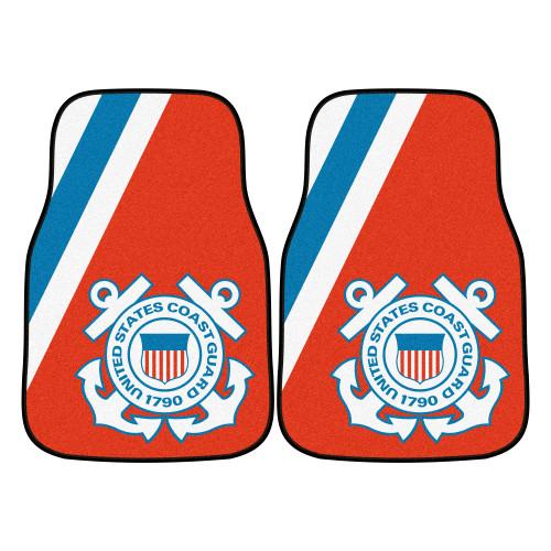 "Set of 2 Orange and Blue U.S. Coast Guard Front Carpet Car Mats 17"" x 27"" - IMAGE 1"