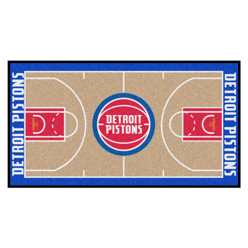 """29.5"""" x 54"""" Beige and Blue NBA Detroit Pistons Court Large Mat Area Rug Runner - IMAGE 1"""