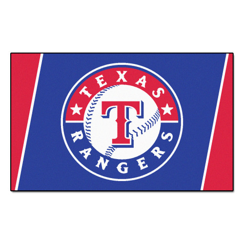 3.6' x 5.9' Red and Blue MLB Texas Rangers Plush Area Rug - IMAGE 1
