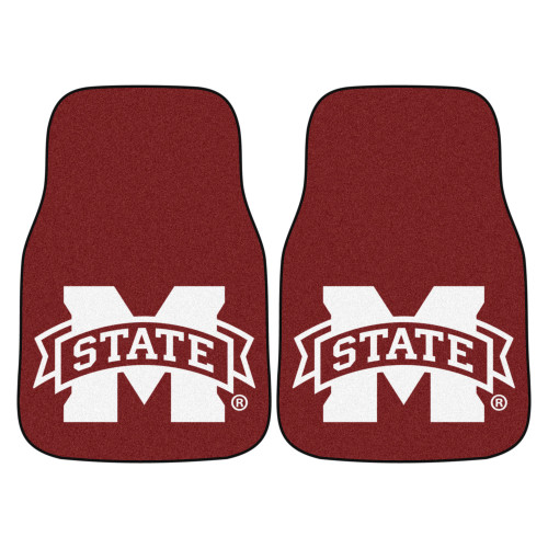 """Set of 2 Brown NCAA Mississippi State University Bulldogs Front Carpet Car Mats 17"""" x 27"""" - IMAGE 1"""