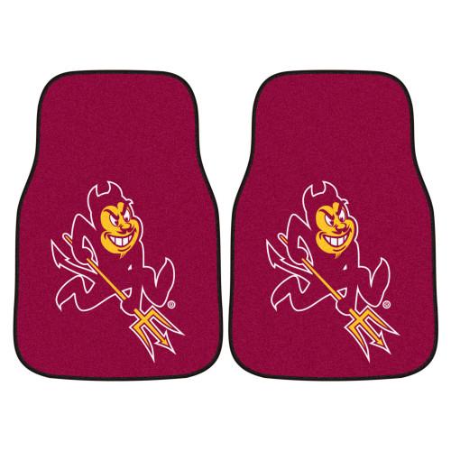 "Set of 2 Red NCAA Arizona State University Sun Devils Front Carpet Car Mats 17"" x 27"" - IMAGE 1"