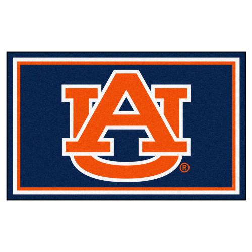 4' x 6' Blue and Orange Contemporary NCAA Auburn University Tigers Rectangular Area Rug - IMAGE 1