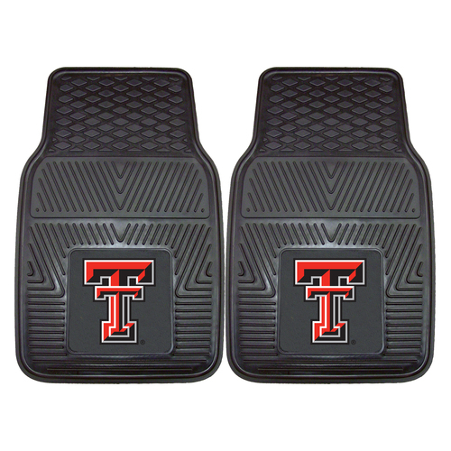 """Set of 2 Black and Red NCAA Texas Tech University Red Raiders Car Mats 17"""" x 27"""" - IMAGE 1"""