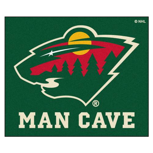 "59.5"" x 71"" Green and White NHL Minnesota Wild ""Man Cave"" Tailgater Rectangular Mat Area Rug - IMAGE 1"