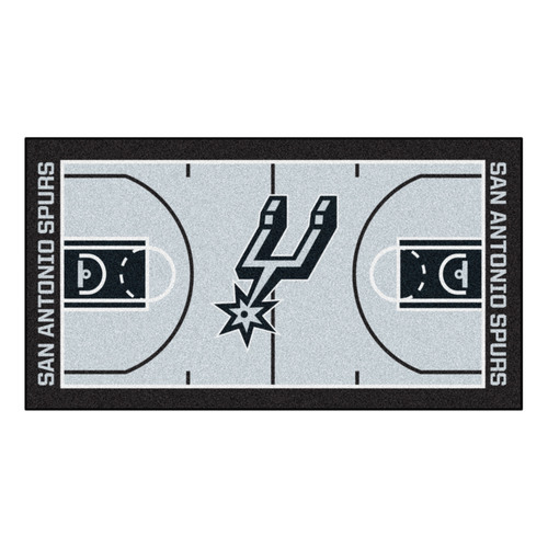 "24"" x 44"" Beige and Black NBA San Antonio Spurs Court Rug Runner - IMAGE 1"