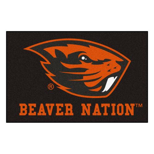 "19"" x 30"" Black and Orange NCAA Oregon State University Beavers Starter Door Mat - IMAGE 1"