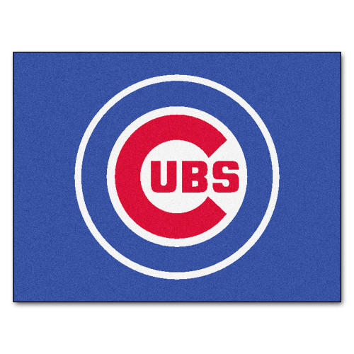 """33.75"""" x 42.5"""" Blue and Red MLB Chicago Cubs Rectangular All-Star Mat Outdoor Area Rug - IMAGE 1"""