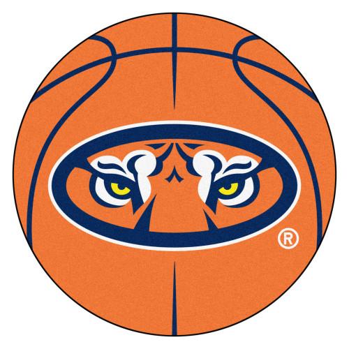 "27"" Orange and Blue NCAA Auburn University Tigers Basketball Shaped Door Mat - IMAGE 1"