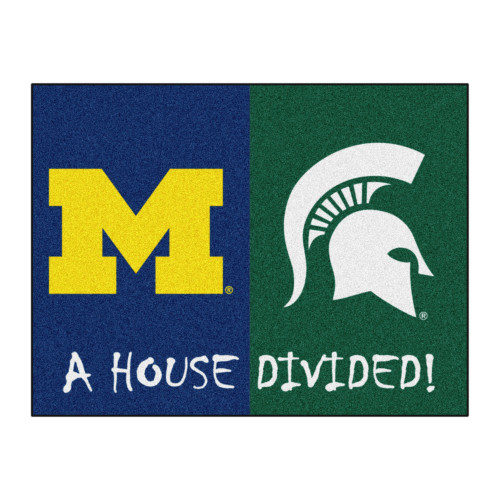 """33.75"""" x 42.5"""" Blue and Green NCAA Michigan Wolverines - Michigan State Spartans House Divided Mat - IMAGE 1"""