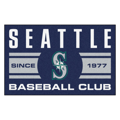 "19"" x 30"" White and Blue MLB Seattle Mariners Starter Mat Rectangular Area Rug - IMAGE 1"