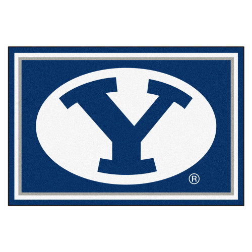 4.9' x 7.3' Blue and White NCAA Brigham Young University Cougars Rectangular Area Rug - IMAGE 1