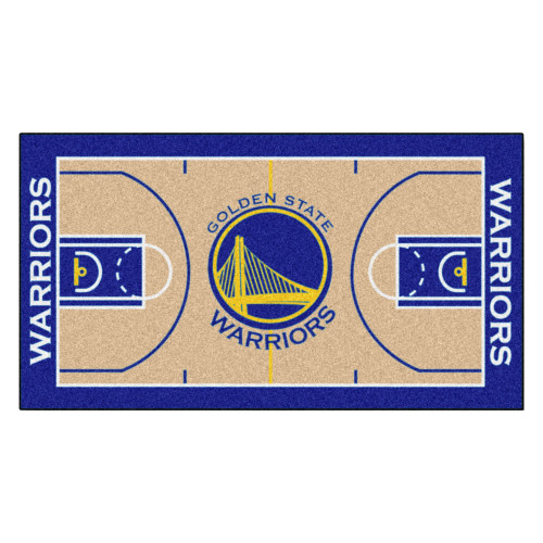 """29.5"""" x 54"""" Blue and Beige NBA Golden State Warriors Court Large Mat Area Rug Runner - IMAGE 1"""