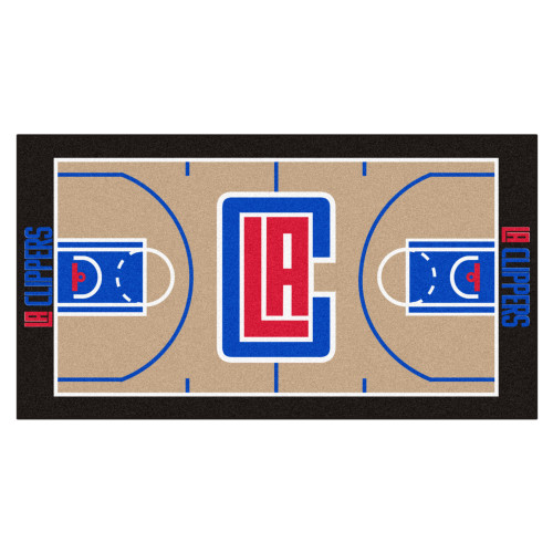 """24"""" x 44"""" Beige and Blue NBA Los Angeles Clippers Court Rug Runner - IMAGE 1"""