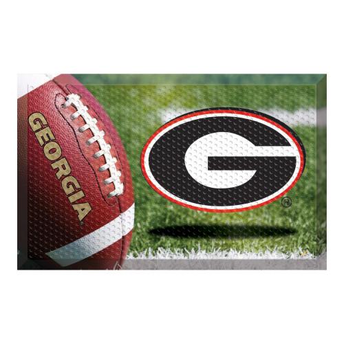 "19"" x 30"" Green and Red NCAA University of Georgia Bulldogs Scraper Rectangular Door Mat - IMAGE 1"