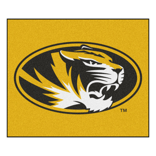 """59.5"""" x 71"""" Yellow and Black NCAA University of Missouri Tigers Tailgater Mat Outdoor Area Rug - IMAGE 1"""