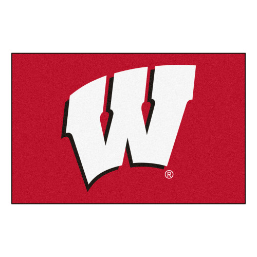 """19"""" x 30"""" Red and White NCAA University of Wisconsin Badgers Rectangular Area Rug - IMAGE 1"""