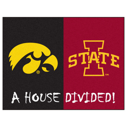 """33.75"""" x 42.5"""" Red and Gold NCAA Iowa Hawkeyes - Iowa State Cyclones House Divided Mat - IMAGE 1"""