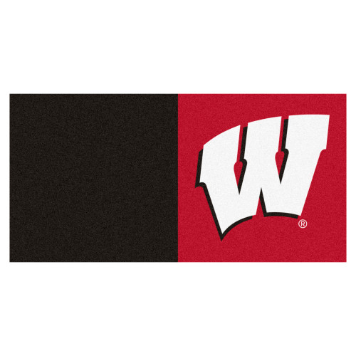 """20pc Black and Red NCAA University of Wisconsin Badgers Team Carpet Tile Set 18"""" x 18"""" - IMAGE 1"""