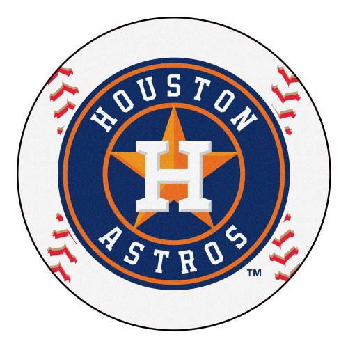 MLB Houston Astros Baseball Shaped Mat Round Area Rug - IMAGE 1
