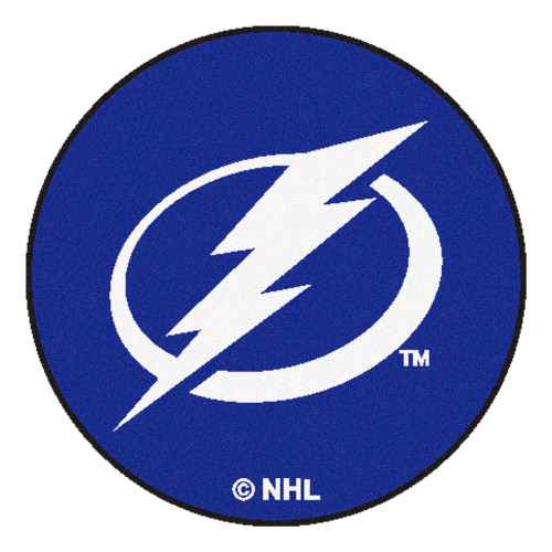 """Blue and White NHL Tampa Bay Lightning Puck Mat Round Area Rug 27"""" - IMAGE 1"""