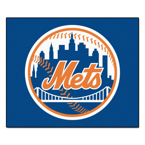 "59.5"" x 71"" Blue and Orange MLB New York Mets Rectangular Tailgater Mat Outdoor Area Rug - IMAGE 1"