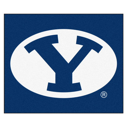 """59.5"""" x 71"""" Blue and White NCAA Brigham Young University Cougars Tailgater Mat Outdoor Area Rug - IMAGE 1"""