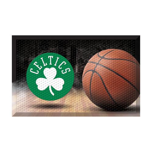 """Green and Black NBA Boston Celtics Shoe Scraper Doormat 19"""" x 30"""" - IMAGE 1"""
