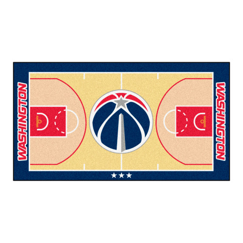 "24"" x 44"" Beige and Blue NBA Washington Wizards Court Rug Runner - IMAGE 1"