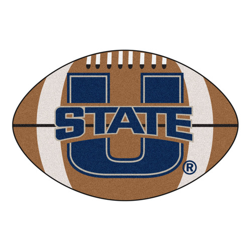 "20.5"" x 32.5' Brown and Blue NCAA Utah State University Aggies Football Shaped Mat - IMAGE 1"