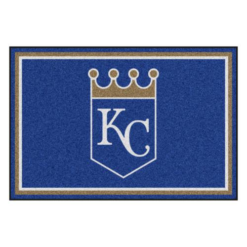 4.9' x 7.3' White and Blue MLB Kansas City Royals Plush Area Rug - IMAGE 1